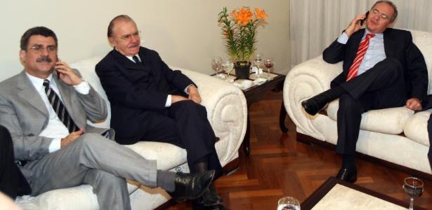 Romero Jucá (e), José Sarney (c) e Renan Calheiros (d) juntos em foto de 2007