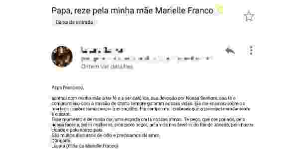 Filha de Marielle escreveu ao papa por meio de um intermediário na Argentina - Reprodução
