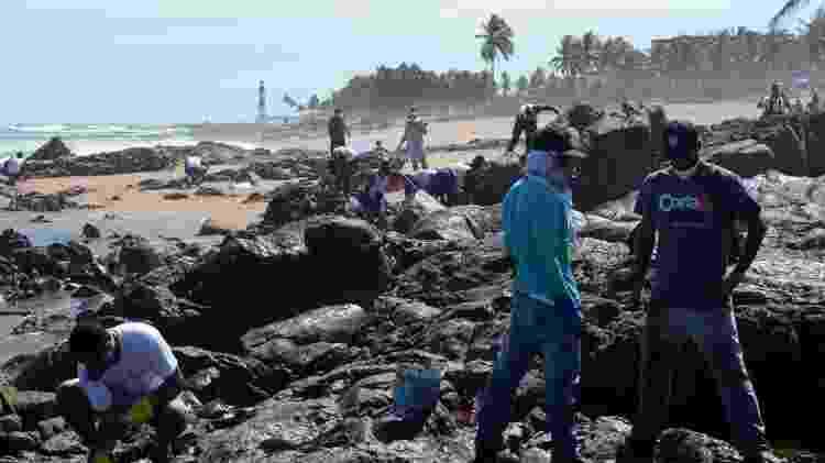 Com Farol de Itapuã ao fundo, voluntários trabalham na limpeza do óleo em Salvador - Victor Uchôa/BBC News Brasil