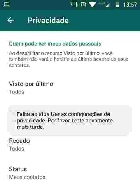 Falha nas configurações de privacidade do WhatsApp - Reprodução - Reprodução
