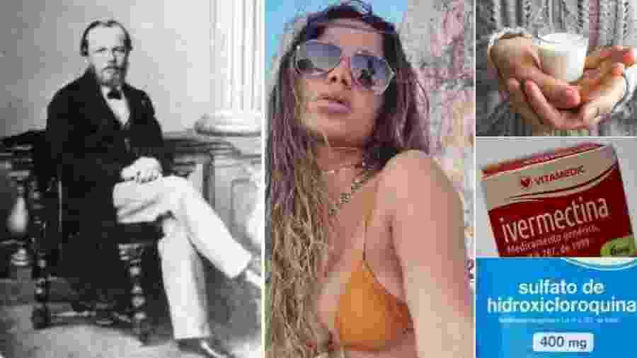 Dostoiévski, Anitta (a cantora), leite quente, Ivermectina, hidroxicloroquina... Tudo isso é tão eficaz contra a Covid-19 como andar com um galho de arruda atrás da orelha. No caso de Dostoievski e de Anitta, a cantora, só se conhecem efeitos colaterais positivos... - Reprodução; Reprodução/Instagram; Reproduções
