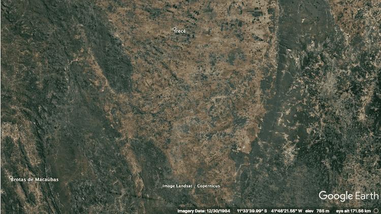 Imagens de satélite mostram avanço da desertificação na região de Irecê (CE) em 1984... - Google - Google