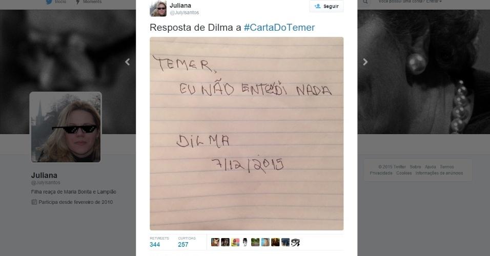 8.dez.2015 - A carta do vice-presidente Michel Temer (PMDB) a Dilma Rousseff (PT) que vazou na segunda-feira (7) rendeu muitas piadas nas redes sociais. No texto, Temer demostrou vários pontos de insatisfação à presidente