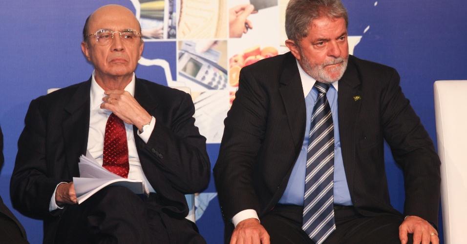 Em foto de 2010, o então presidente da República, Luiz Inácio Lula da Silva, e o então presidente do BC (Banco Central), Henrique Meirelles, participam no Centro de Convenções Ulysses Guimarães, do II Fórum do Banco Central sobre Inclusão Financeira, em Brasília (DF)