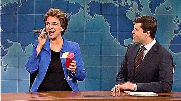 22.mai.2016 - A presidente afastada, Dilma Rousseff, foi um dos alvos do programa humorístico americano