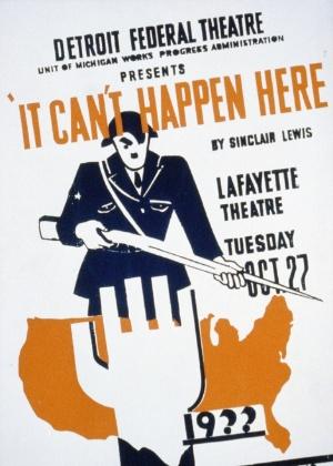 """Cartaz da adaptação de """"It Can't Happen Here"""" para o teatro"""