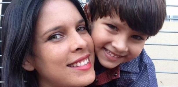 Lucielle e o filho Otávio