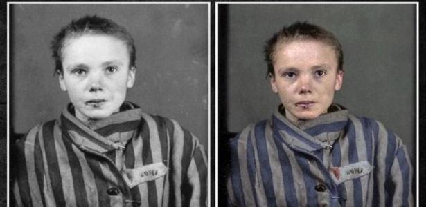A polonesa Czeslawa Kwoka: imagem, originalmente em preto e branco, é ainda mais impactante quando vista colorida - Marina Amaral/via DeutscheWelle