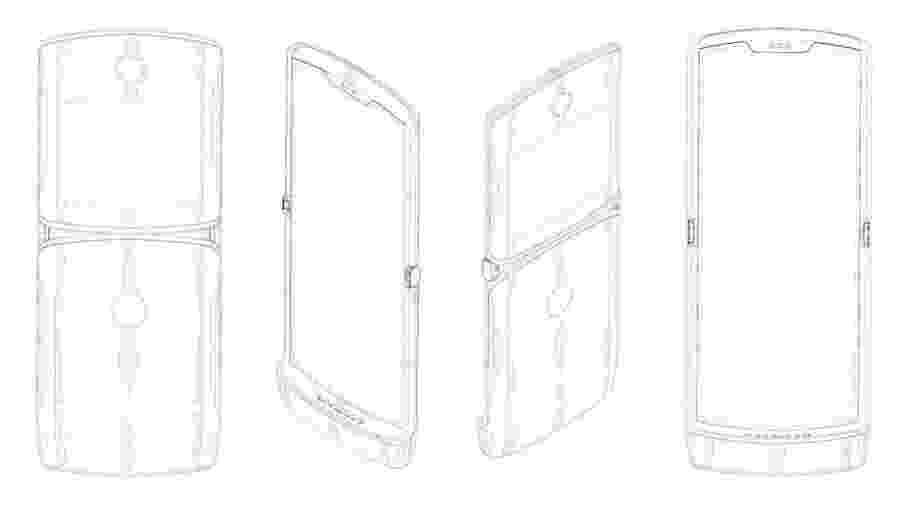 Imagem do novo Motorola Razr com tela dobrável enviada pela Lenovo Organização Mundial de Propriedade Intelectual - Divulgação/Lenovo