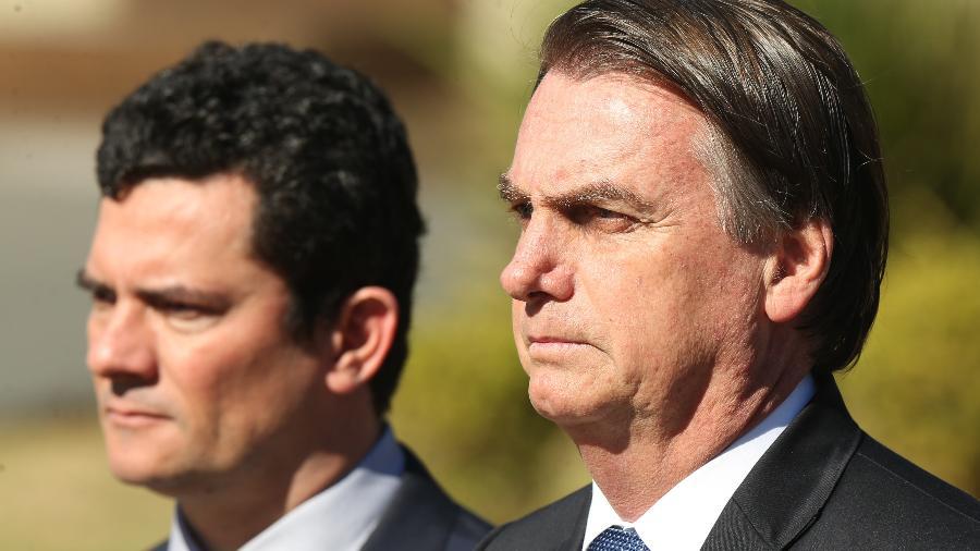 O ministro da Justiça, Sérgio Moro, e o presidente, Jair Bolsonaro - Andre Coelho/Folhapress