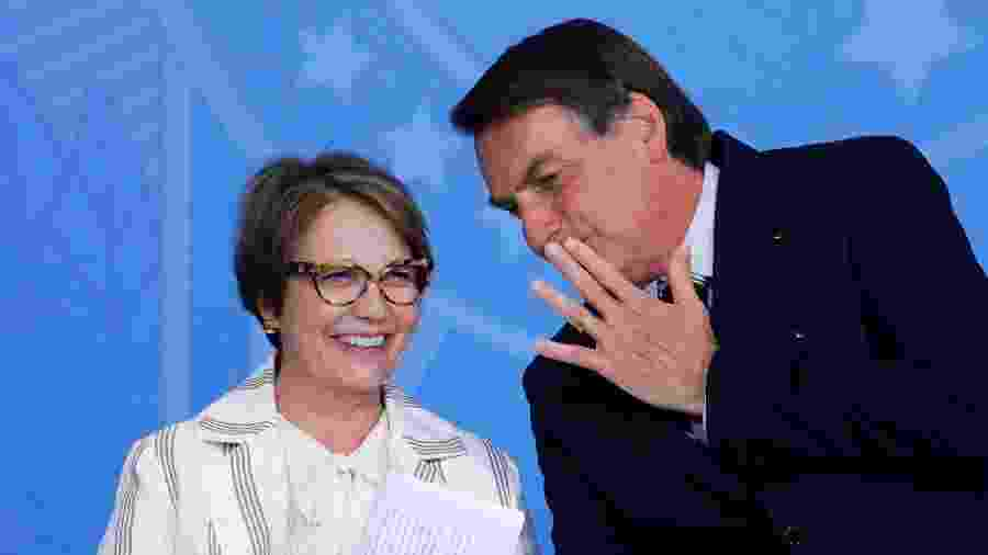O presidente Jair Bolsonaro e a ministra Tereza Cristina (Agricultura) - Adriano Machado/Reuters