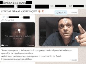 29.fev.2020 - Em grupo de WhatsApp, militante bolsonarista compartilha vídeo do deputado Otoni de Paula (PSC-RJ) convocando para manifestações de 15 de março. Abaixo, ele escreve mensagem defendendo o fechamento do Congresso. As mensagens são de 29 de de fevereiro de 2020. - Reprodução - Reprodução