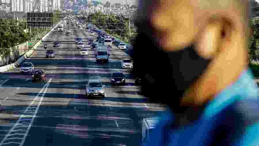 11.mai.2020 - Homem caminha na ponte da Cidade Universitária, sobre a marginal Pinheiros - Aloísio Maurício/Fotoarena/Estadão Conteúdo