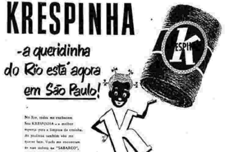 Internautas tuitaram publicidade da década de 1950 de uma esponja 'Krespinha' feita por uma loja de limpeza - BBC - BBC