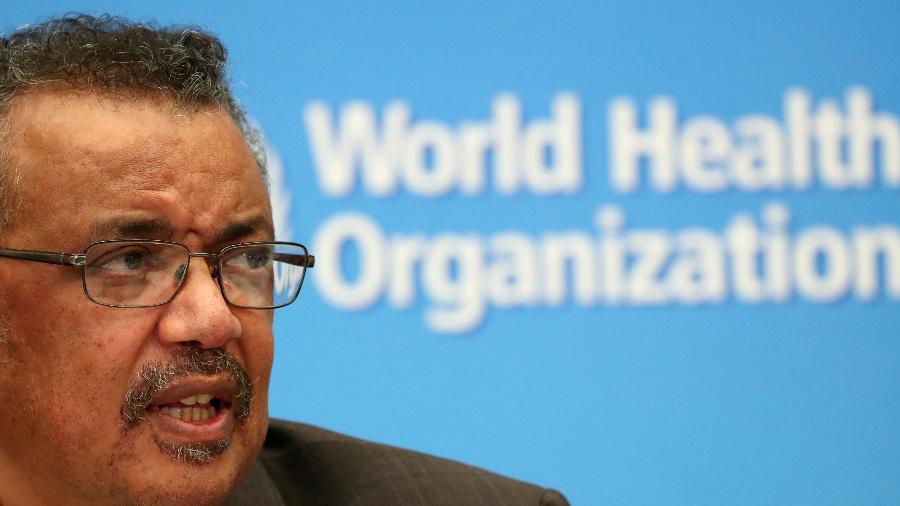 Diretor-geral da OMS, Tedros Adhanom Gebreyesus, durante entrevista coletiva em Genebra -