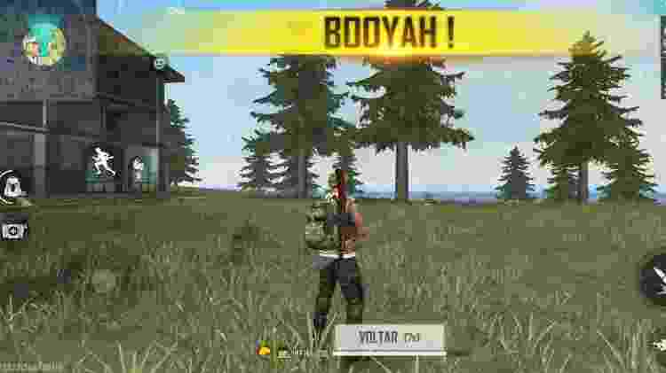 Booyah! Durante os testes, consegui sobreviver no jogo FreeFire em que vários jogadores vão para uma ilha e o último que sobreviver ganha - Reprodução - Reprodução