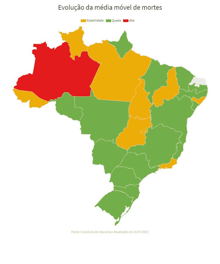 Média móvel nos estados *O Rio Grande do Norte não registrou dados até às 20h de hoje - UOL - UOL