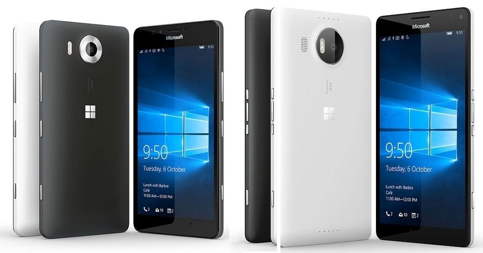 6.out.2015 - A Microsoft anunciou dois novos smartphones top de linha: Lumia 950 (esquerda) e Lumia 950 XL (direita). Os aparelhos --os primeiros a virem de fábrica com o Windows 10-- chegam ao mercado em novembro por US$ 549 (cerca R$ 2.100) e US$ 649 (R$ 2.500), respectivamente. O Lumia 950 XL apresenta uma tela Quad HD de 5,7 polegadas, processador hexa-core, 3 GB de RAM, 32 GB de armazenamento e suporte para até 2 TB de dados expansíveis. Já a versão 950 deve se diferenciar pelo tamanho (5,2 polegadas) e pelo processador (octa-core)