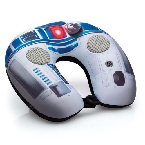 Almofada massageadora de pescoço Star Wars R2-D2, da Imaginarium, com caixas de som. Custa R$ 149,90