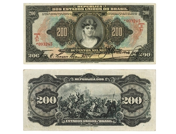 Cédula de 200 mil réis da Caixa de Estabilização, que circulou em 1927. O valor tinha seu lastro em ouro garantido pelo governo federal