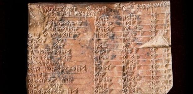 Tabela trigonométrica escrita em tábua de argila