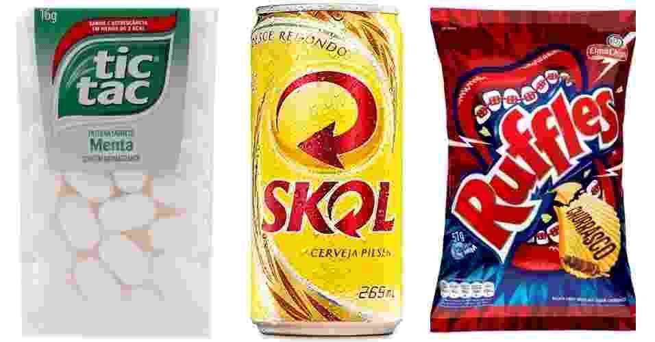 Produtos vendidos com medidas quebradas: bala, cerveja, batata frita - Arte/UOL