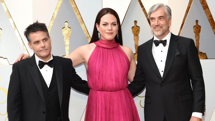 Sebastian Lelio (L) and Daniela Vega arrive for the 90th Annual Academy Awards on March 4, 2018, in Hollywood, California. / AFP PHOTO / VALERIE MACON - AFP