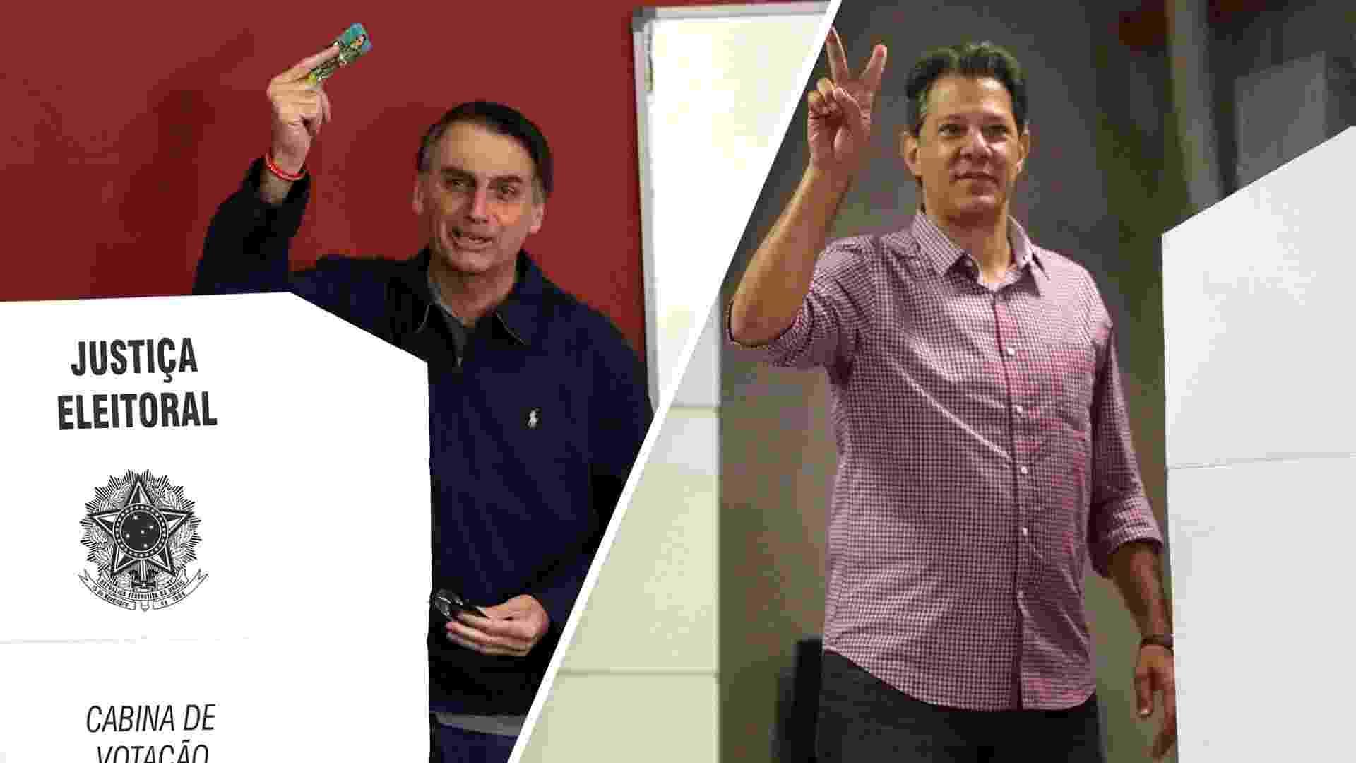 Montagem Jair Bolsonaro e Fernando Haddad votando - Arte/UOL