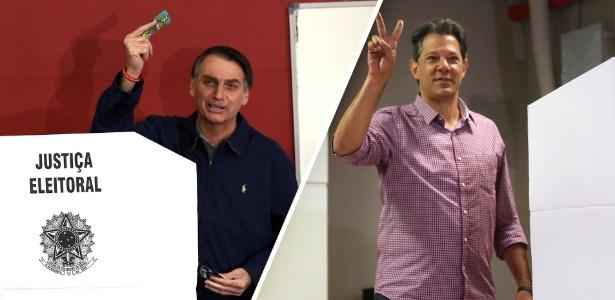 Jair Bolsonaro e Fernando Haddad votando neste domingo (7)