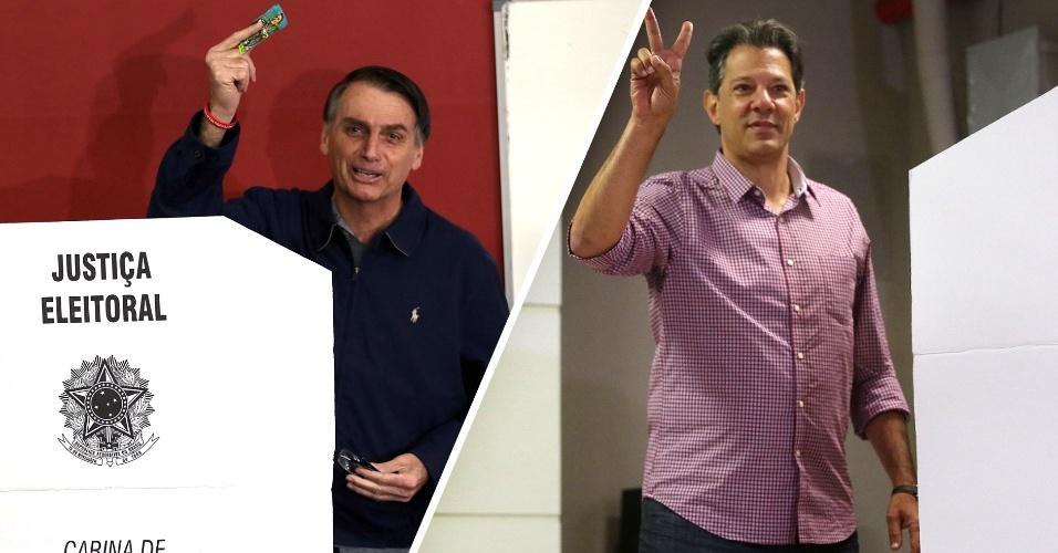 Montagem Jair Bolsonaro e Fernando Haddad votando