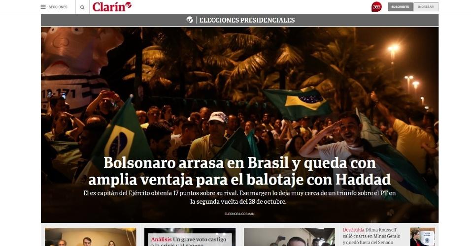 """Clarín (Argentina): """"Bolsonaro arrasa no Brasil e fica com ampla vantagem para o segundo turno com Haddad"""""""