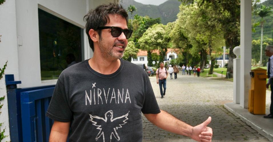 28.out.2018 - O humorista Bruno Mazzeo vota no Clube de Golfe em São Conrado, no Rio de Janeiro