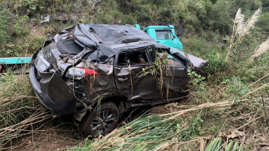 Carro de Mariana Fossatti ficou destruído após acidente; médica foi resgatada quase 30 horas depois - Reprodução/Arquivo da Família
