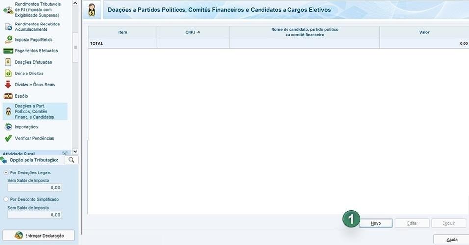 """Informe doações feitas a partidos políticos. Clique em """"Novo"""" (1) para abrir a janela de preenchimento de dados"""