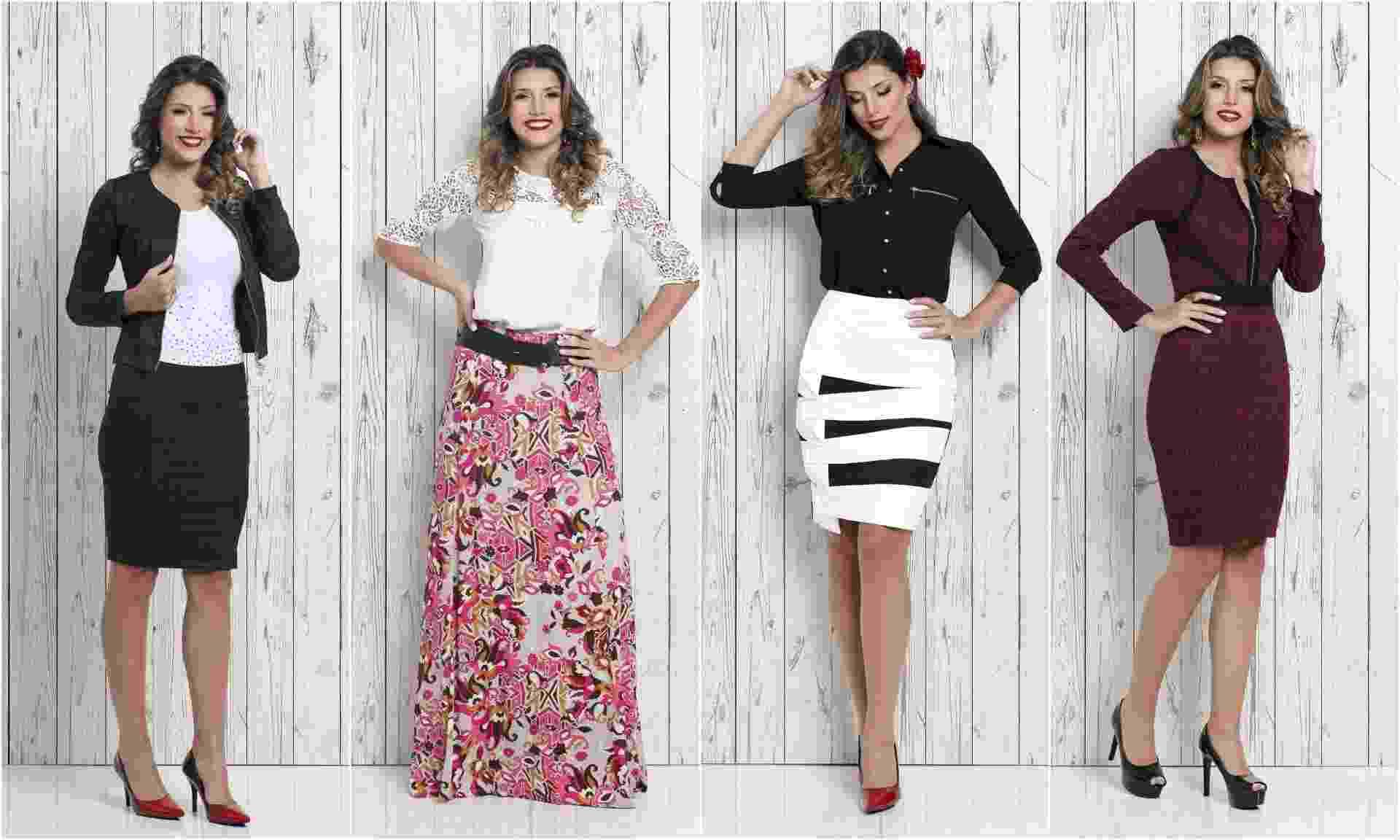 A Saia Bella vende saias, vestidos, conjuntos e camisas do tamanho 36 a 52 via Internet ou em sua loja, em Guarulhos - Divulgação