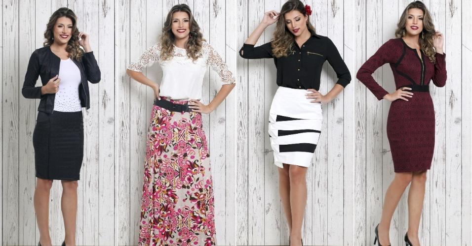 A Saia Bella vende saias, vestidos, conjuntos e camisas do tamanho 36 a 52 via Internet ou em sua loja, em Guarulhos