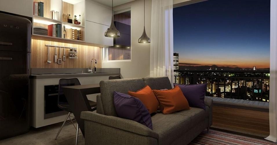 Apartamento tem 27 m² e um dormitório