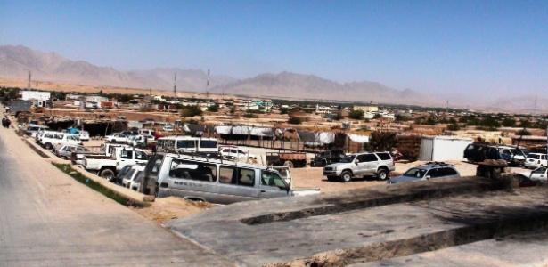 Vista geral da cidade de Trinkot, no Afeganistão