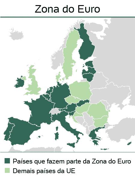 mapa zona euro - Arte/UOL - Arte/UOL