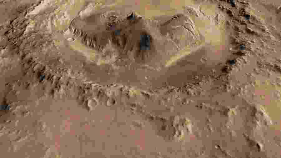 Cratera Gale, de Marte, onde cientistas detectaram gás metano -