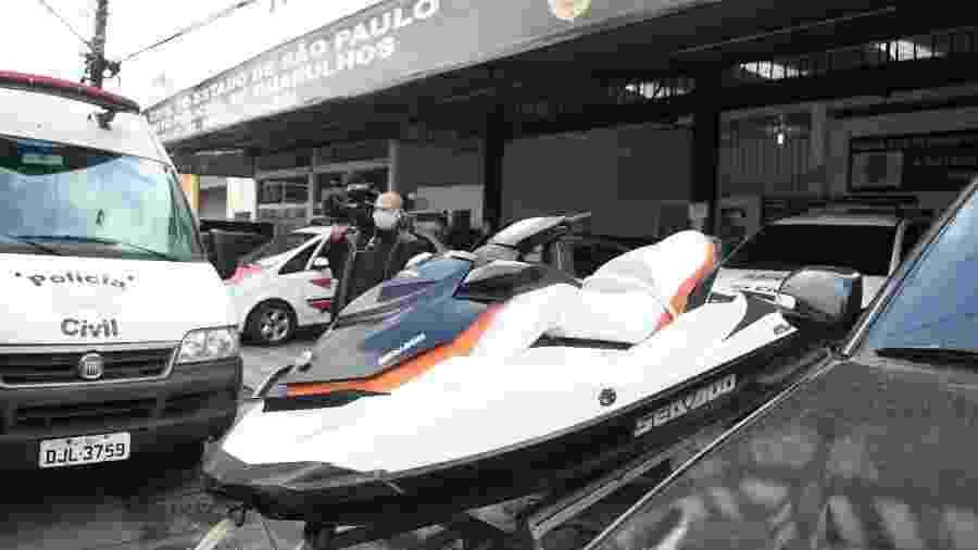 3.jun.2020 - Moto aquática é apreendida em operação da Polícia Civil de Guarulhos contra lavagem de dinheiro - Rômulo Magalhães/Futura Press/Estadão Conteúdo