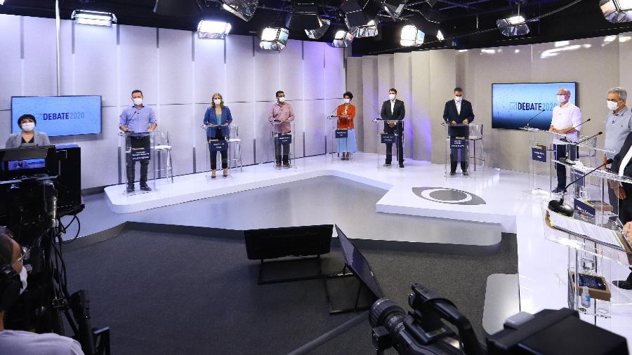 Candidatos à Prefeitura de Belo Horizonte durante o primeiro debate eleitoral, feito pela Band; Alexandre Kalil, atual prefeito, faltou - Divulgação/Band Minas