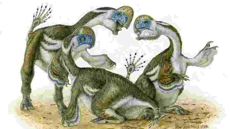 Reconstituição visual de dinossauros da espécie descoberta - Michael W. Skrepnick