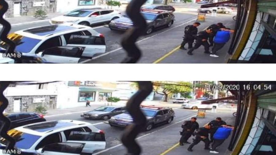 Imagens de câmera de segurança mostram momento em que Márcio Alario Esteves, o Turim, apontado como integrante do PCC, é presoem 11 de setembro de 2020 por PMs da Rota sob a acusação de tráfico de drogas - Reprodução/SSP