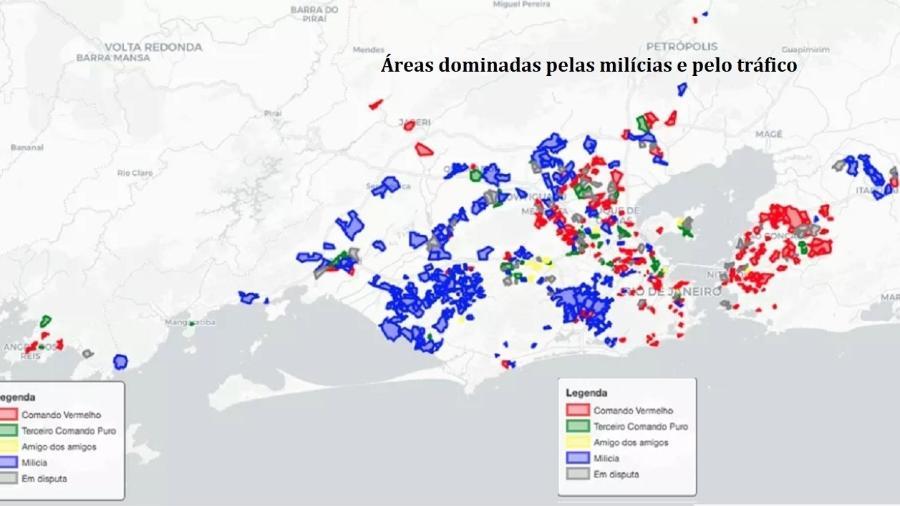 Mapa mostra as áreas do Rio que são ocupadas pelas milícias e pelo tráfico. Os milicianos são a força dominante. Tráfico perde espaço para elas, ao contrário do que diz delegado que comandou ação desastrosa no Jacarezinho - Disque-Denúncia (Elaboração Fogo Cruzado, GENI-UFF, NEV-USP, Pista News)