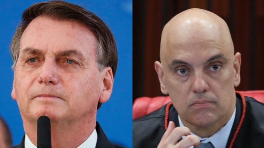 Ao atacar Alexandre de Moraes, Bolsonaro causou reação inversa ao que deseja - Montagem