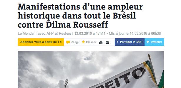 Le Monde: Manifestações de amplitude histórica contra Dilma - Reprodução