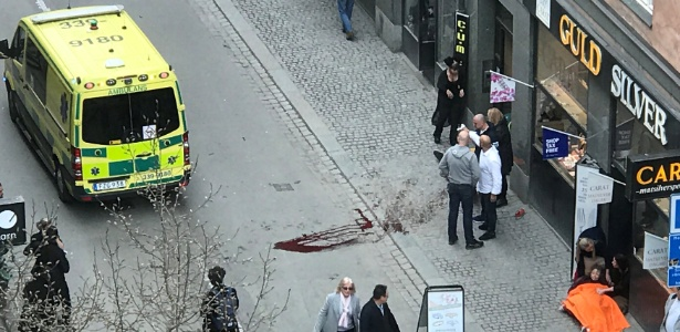 O local do ataque que matou quatro pessoas na capital da Suécia