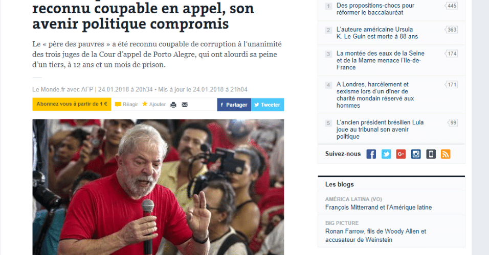 """""""Le Monde"""" chama Lula de """"figura mítica da política brasileira"""""""