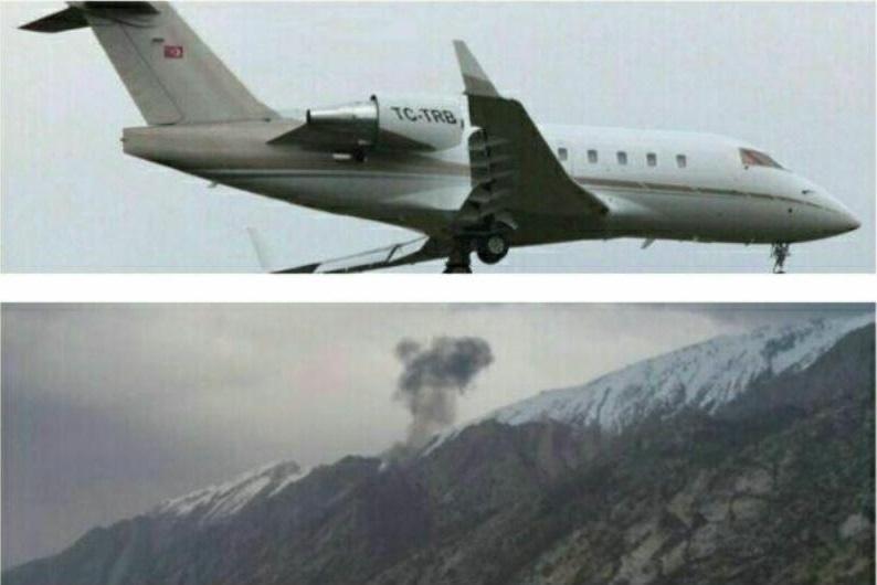 11.mar.2018 - Imagem do avião privado turco com 11 pessoas a bordo que caiu neste domingo ao sul da cidade de Isfahan, no Irã, e do local do acidente, com a aeronave em chamas